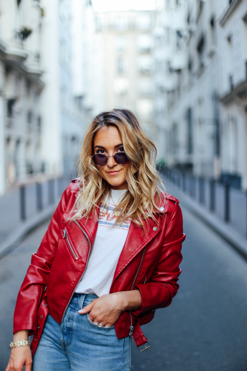 Perfecto rouge C&A et Jean Levi's - Blondie Baby, blog mode Paris, Lifestyle, Voyages