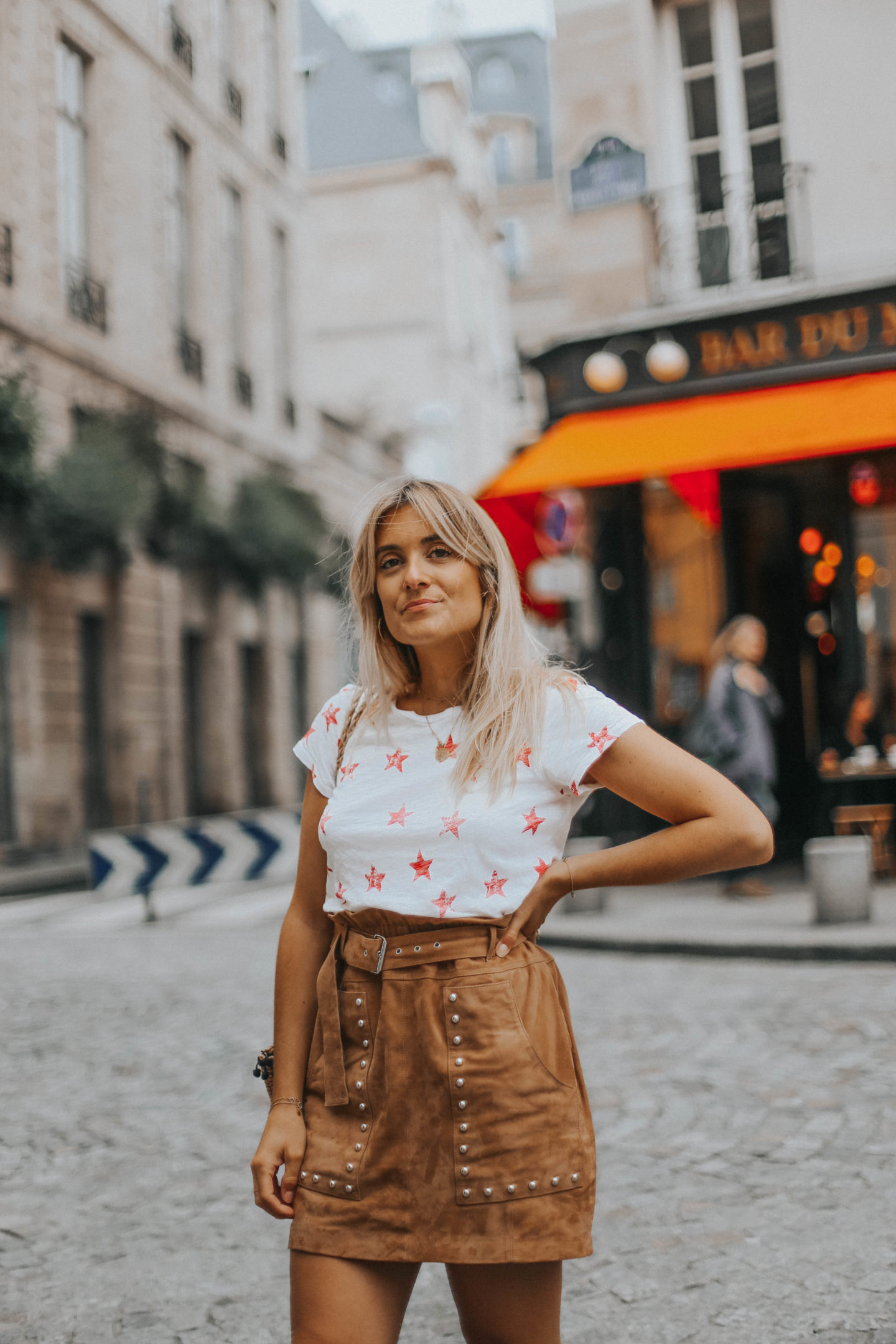 Jupe en daim Berenice - Blondie Baby blog mode Paris et voyages