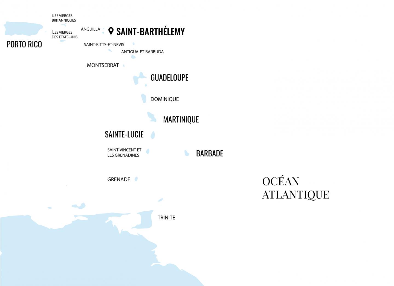 Carte Saint Barthélemy - Blondie Baby blog voyages